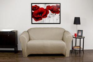 Stretch Velvet Mink Chair Slipcover. Soft velvety surface, beige form fit slip cover upholstery for living room, beautiful interior design, chic home decor