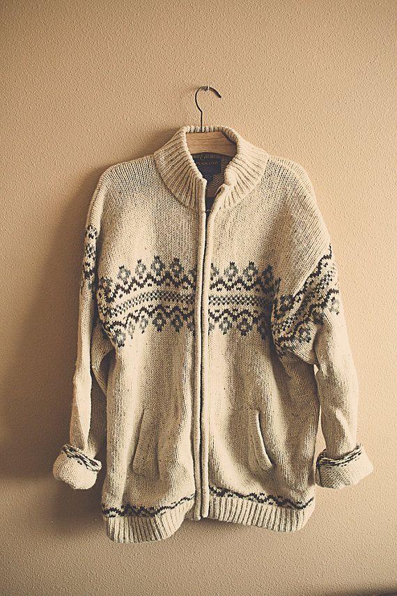 Vintage 80's Pendleton Wool Tribal Aztec Zip Up Wool Sweater Long Sleeves Ivory and brown Men's Large Boyfriend Slouchy cozy