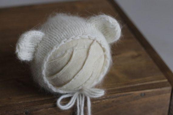 Knit angora bonnet Fluffy bear bonnet by MoonlightLittleKnits