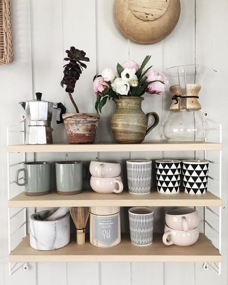 Loving The Grey And Pink Colour Theme The Jug Of Flowers Make This Shelfie A Open Kitchen Shelvingkitchen Shelf Decorkitchen