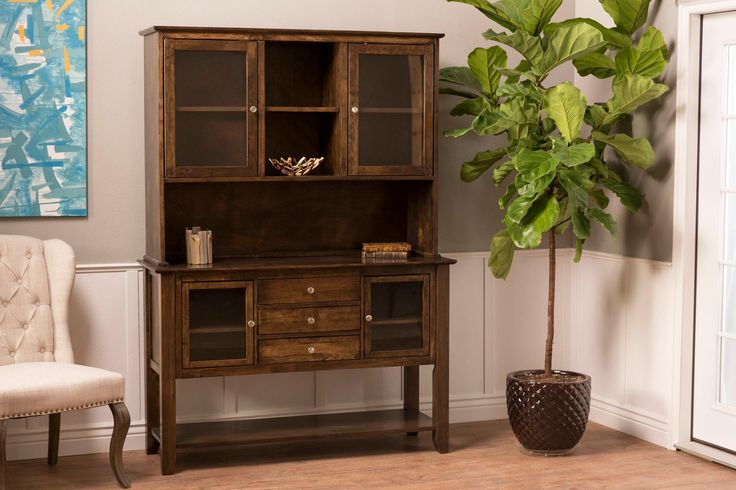 Finished by hand at James+James The Contemporary Buffet and Hutch can be customized in any of our stain colors.  Buffet, Server, Storage, Wood Furniture, Customizable, Kitchen, Decor, Dining Room, Hosting, Holidays, Family, Farmhouse, Rustic, China Cabinet, Home