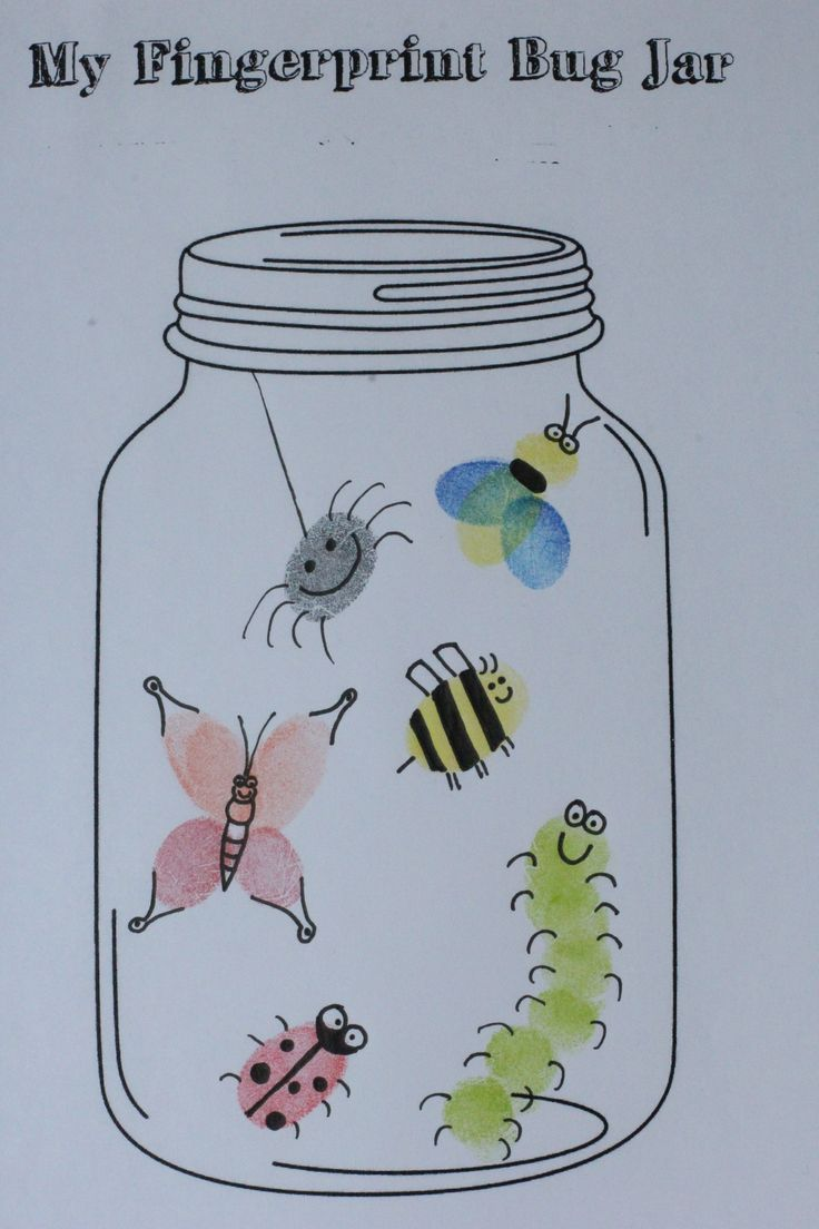 Found this FREE mason jar printable........ (http://avirtuouswoman.org/fingerprint-bug-jar-printable/) Such a fun craft w/added writing prompt. craft by Erin Mitchell