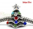 Silver Tone Multicolor Rhinestone Christmas Tree Charms Beads Fit European Bracelet 16x14mm, sold per packet of 10  $3.73