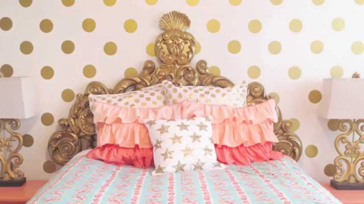 TREND ALERT: Gold Polka Dot Wall Decals. We're touring two different rooms featuring this trend! #nursery #polkadots