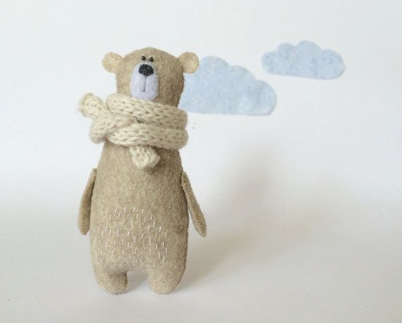 Felt Bear In Knitted Scarf Stuffed Bear Felted Miniature by Amuru