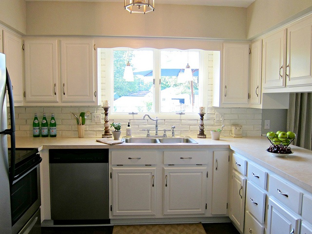 Kitchen white cabinets, beige countertop, grey green paint, white