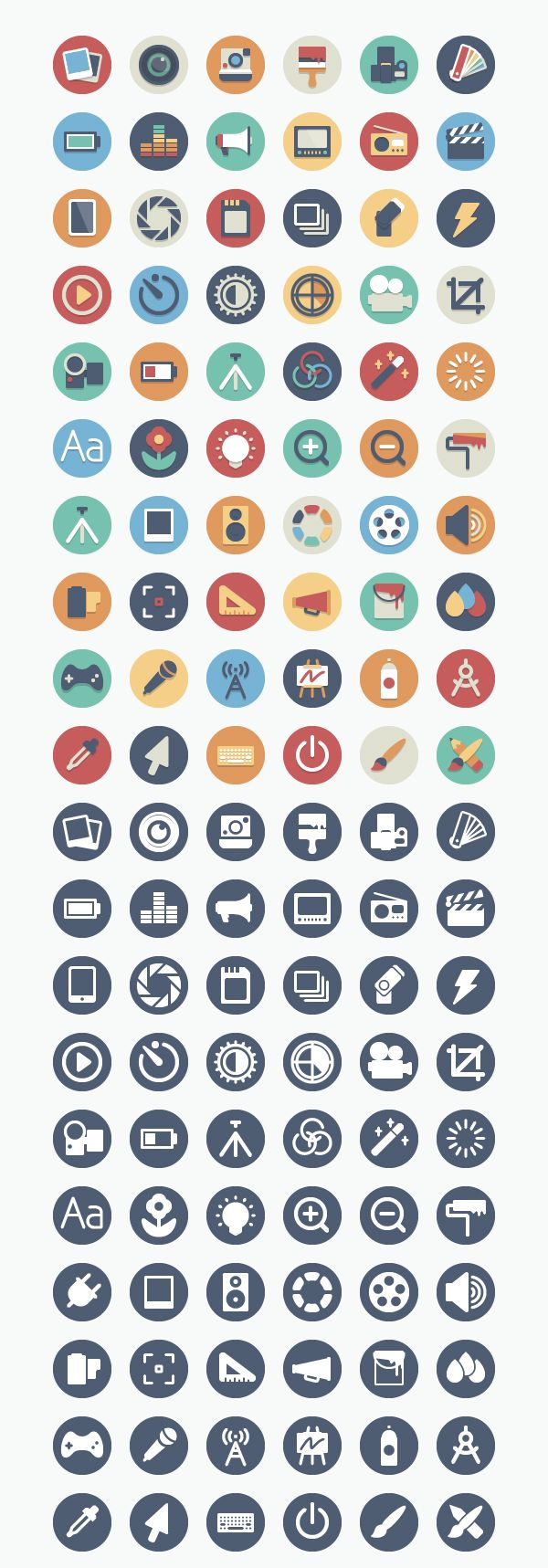 Our Flat Icon Set Gets A Media Makeover | Our circular flat icon set gets a media makeover today with yet another addition to the already-awesome collection! We have added 60 media themed icons to this set making for a total of 192 icons. The icons come in two variations: full color and single color and they are packaged in .ai, .eps, .pdf, and .png (64px and 128px).