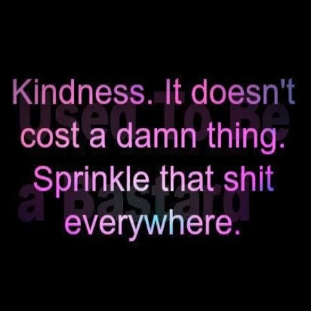 Kindness. It doesn't cost a damn thing. Sprinkle that shit everywhere. #hellyeah
