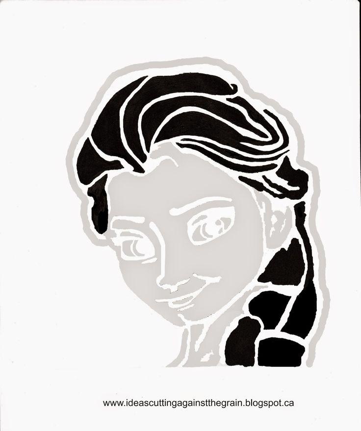 Elsa pumpkin carving template - gonna make this into a stencil & use glitter on a white pumpkin