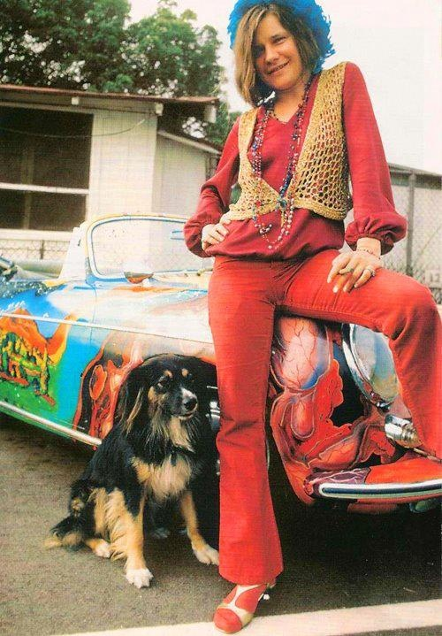 Janis Joplin poses with her dog and convertible. OMG...her dog looks just like my Mija!  <3