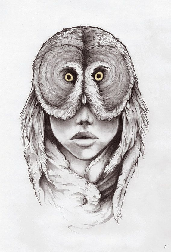 Art Print Owl Drawing Female Face Mask Feathers Portrait Design