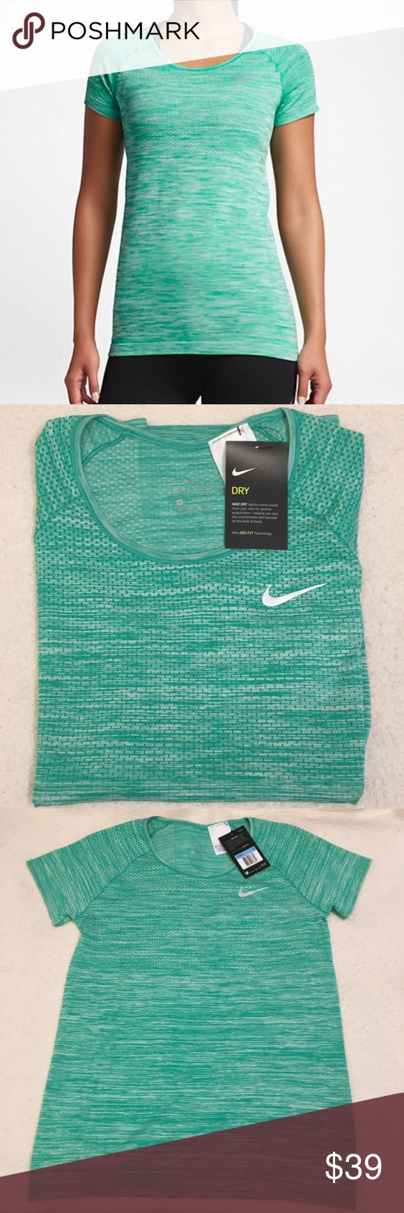 Nike Dri-Fit Green Short Sleeve Running Top Soft and stretchy green/teal short sleeve running tee with Dri-Fit technology. NWT!   Bust: about 17.25 inches across front Length: about 25.5 inches Nike Tops Tees - Short Sleeve