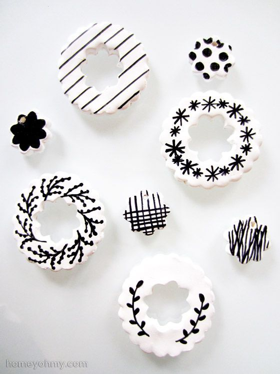 DIY Clay Ornaments decorated with a Sharpie. Kids Christmas craft. Holiday craft for gift tags, ornaments or keepsake.