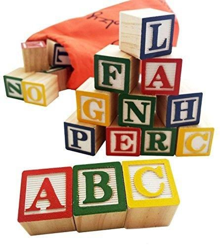30 Alphabet Blocks with Letters Colors by Skoolzy. Wooden ABC Toddler Preschool & Kindergarten Building Toy. Wood Reading Stacking with Carrying Tote