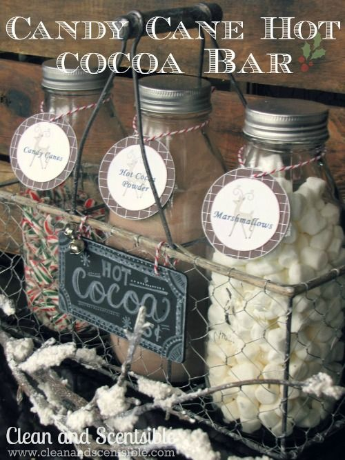 This cute candy cane hot cocoa bar is perfect for the holidays! Great for Christmas parties or just to have out for a quick mug of hot cocoa!