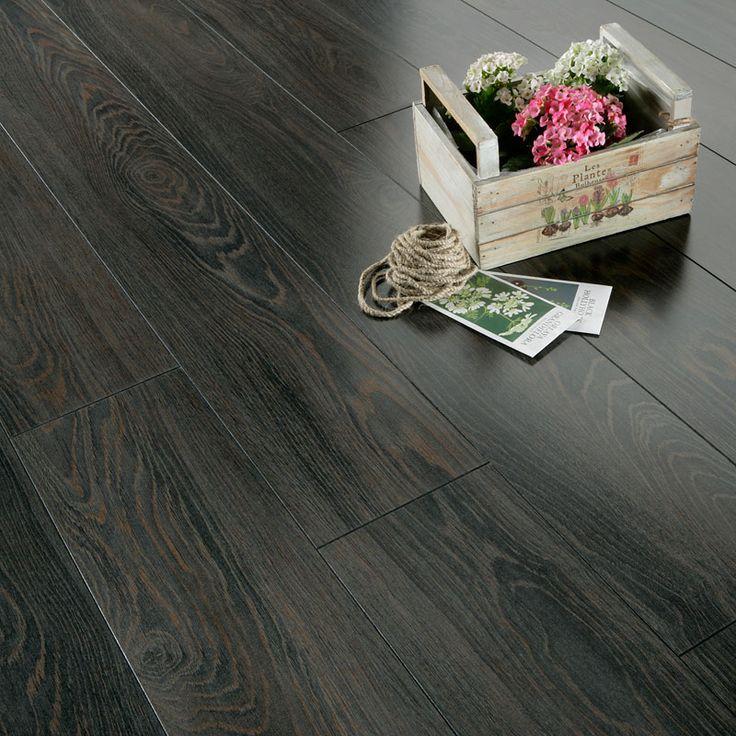Dark laminate flooring series inspire 8mm gloss black for Black laminate flooring