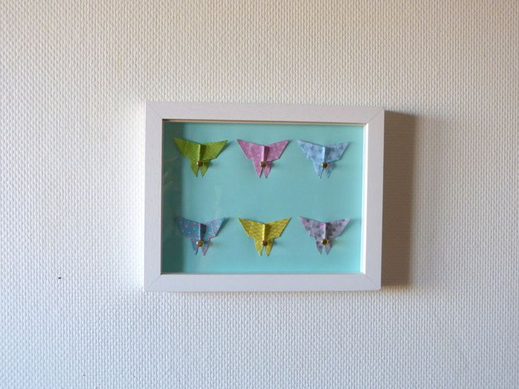 child frame butterfly origami pastel mural room baby and child origami pastel and etsy. Black Bedroom Furniture Sets. Home Design Ideas