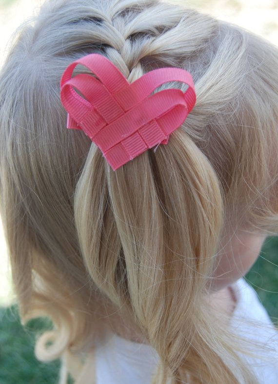 Set of Two Ribbon Heart Clips. One Purple and One Coral Pink. On a Ribbon-Lined Clip for Girls.