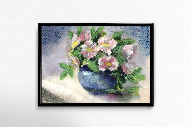 Flower Print, Printable Art,  Watercolor Flowers, digital Download, Blue Wall Art, Home Decor, Wall Decor by EkaDS on Etsy