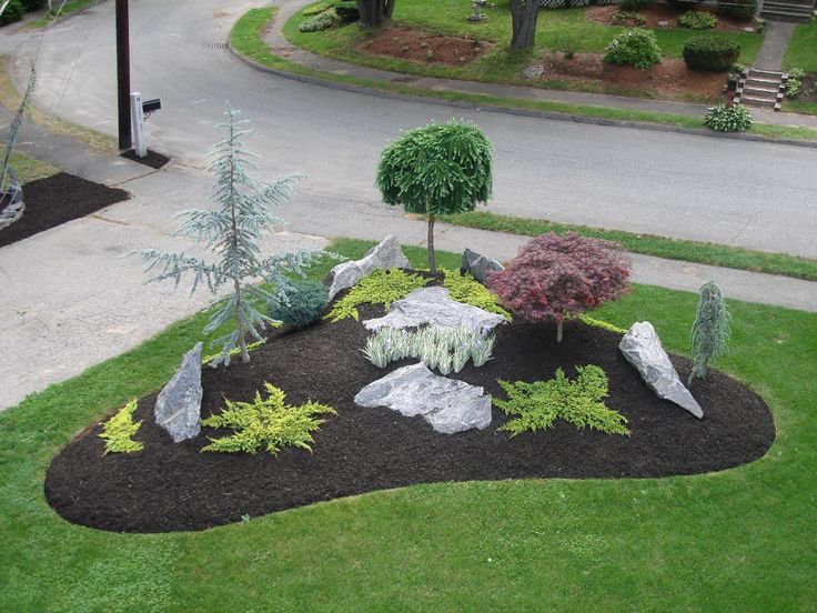 simple landscape designs with rock beds - This is similar to what I would like in the corner of my yard.