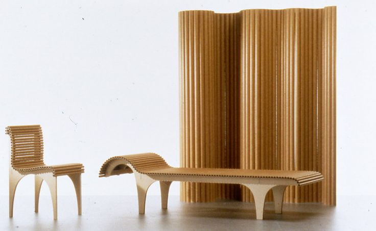 The Carta furniture series by Shigeru Ban Architects is made with plywood legs and a seating surface comprised of small paper tubes. The series includes a chair, stool, chaise lounge, and a room partition.
