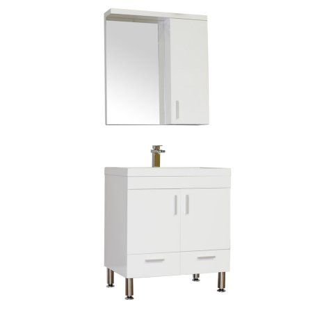Pictures In Gallery Ripley inch Single Modern Bathroom Vanity Set in White with Mirror