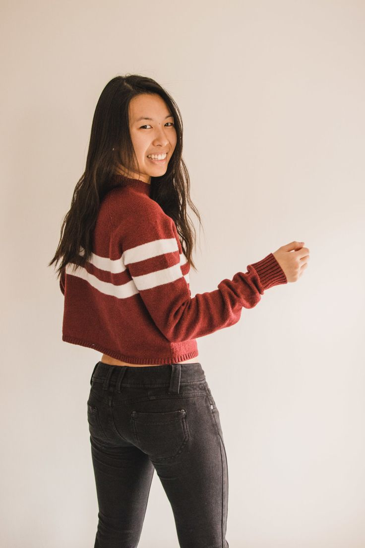 Mock Neck Striped Crop Sweater from Hollister, Fashion, Style, Tumblr, #ootd - Simply Lovebirds