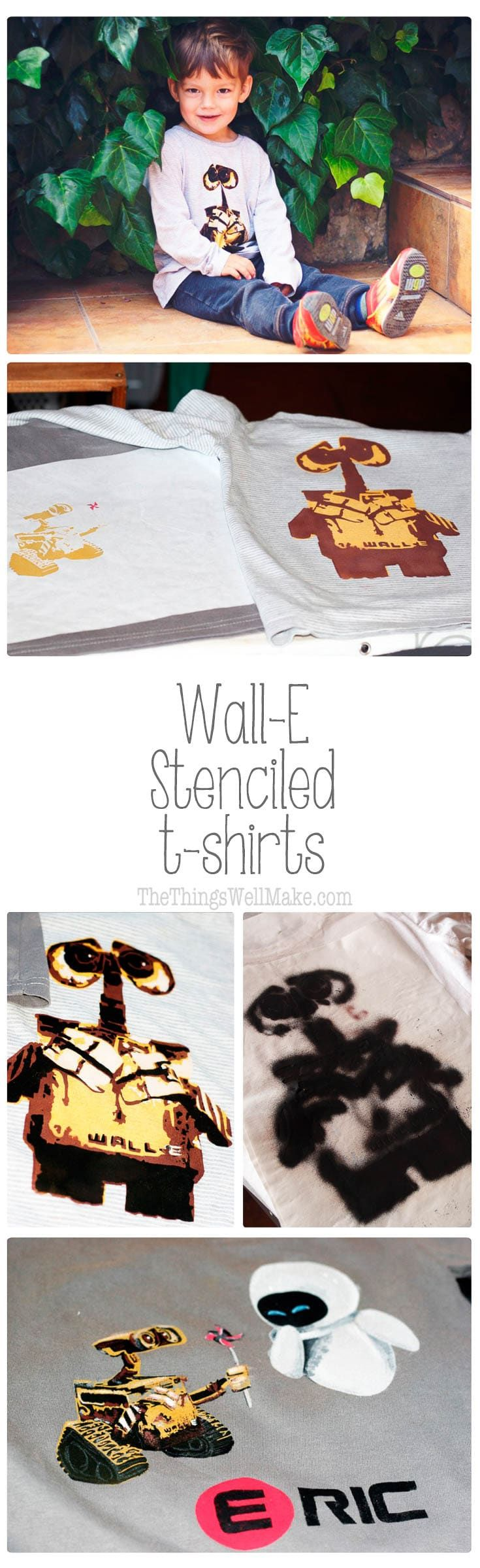 You can make fun and professional looking Wall-E and Eve t-shirts with these stencils, some freezer paper, and some fabric paints. #walle #eve #disney #stencils #tshirts #fabricpaint