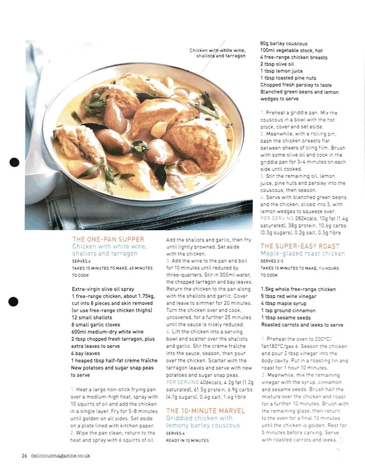 Chicken with white wine shallots and tarragon