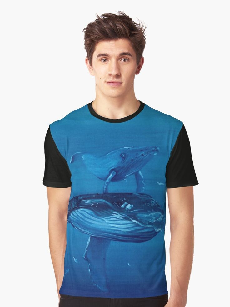 Whales Graphic Tee --- $30    #whales #blue #tee