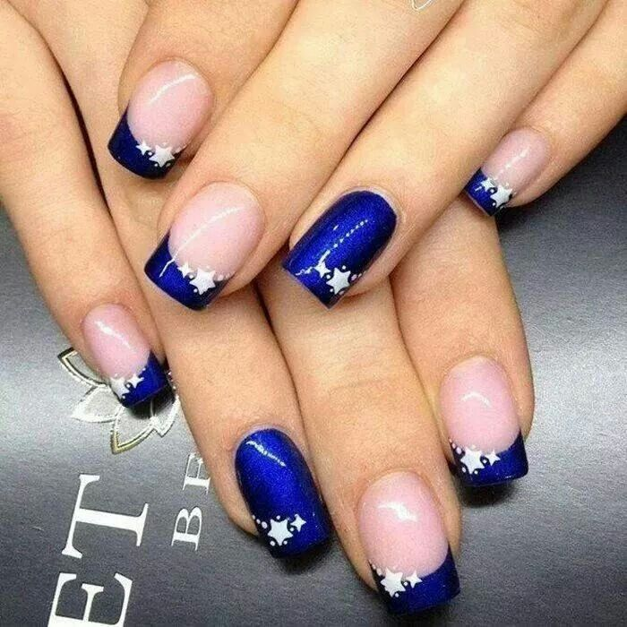 Nail Art - blue french tip, elegant, 4th of July - maybe with red on the ring finger?