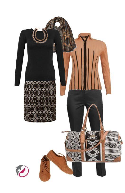 New York City weekend. Camel & Black.  Orvis wrinkle-free black pants, Jamie Sadok sweater,  John Lewis pencil skirt, Rip Curl Black Magic bag. Add a black long sleeve t-shirt, co-ordinating scarf, necklace and shoes.