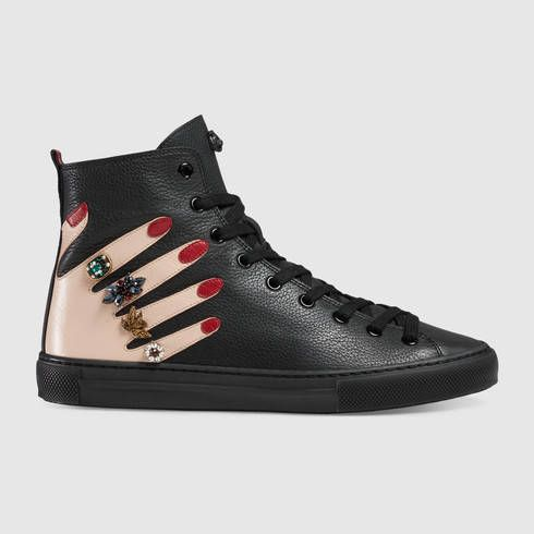 GUCCI Embroidered Leather High-Top Sneaker. #gucci #shoes #women's sneakers