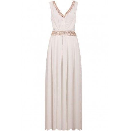 Imponująca, biała sukienka ślubna. Przepiękne, złote detale dodają elegancji i wyjątkowego charakteru. Sukienka doskonała na ślub kościelny, ślub cywilny.