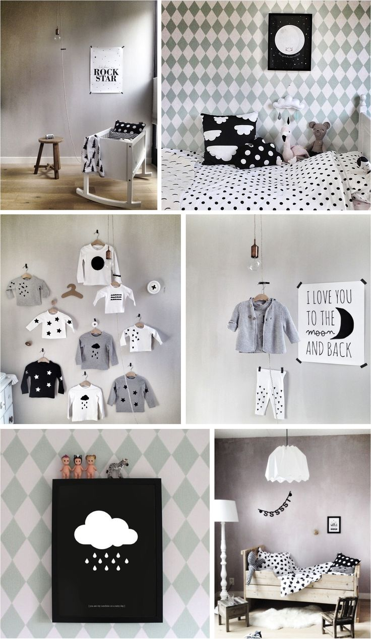 black & white kids room decor