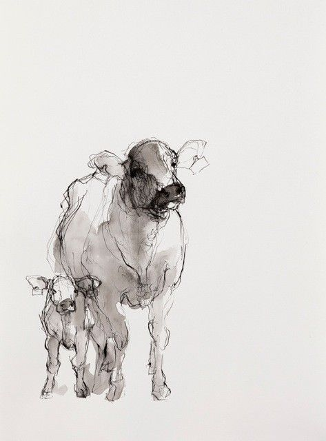 """Cows (Two)""  Artist: Susan Siegel  Sumi Ink on Paper  10.5"" x 15""  2012   Price $260.00. Lover her work."