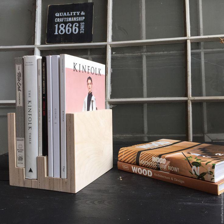 Купить Подставка для книг и журналов - бежевый, подставка для книг, полка для книг, берёзовая фанера