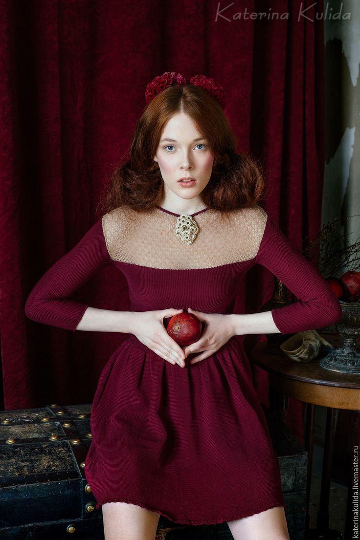 Cotton Dress | Платье с широкой юбкой - бордовый, вечернее платье, бордо, марсала, винный цвет