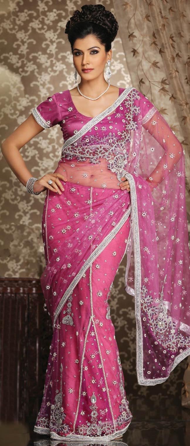 #Pink Net #Lehenga Style #Saree With #Blouse @ $143.28