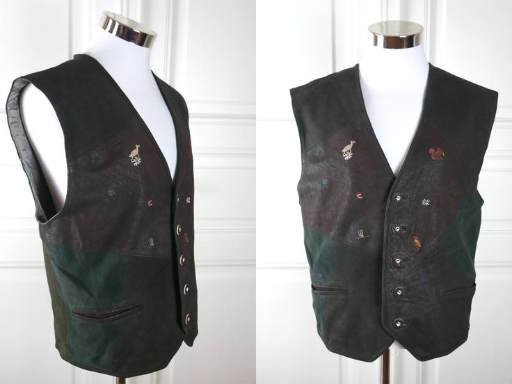 German Vintage Trachten Vest, Brown Leather Traditional Bavarian Waistcoat w Embroidered Animals & Edelweiss, Octoberfest: Large, 40 US/UK by YouLookAmazing on Etsy