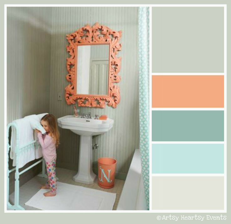 Teal and coral with gray