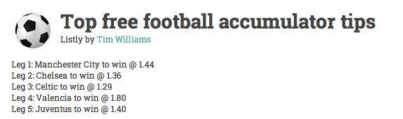 Top football accumulator betting tips this weekend.