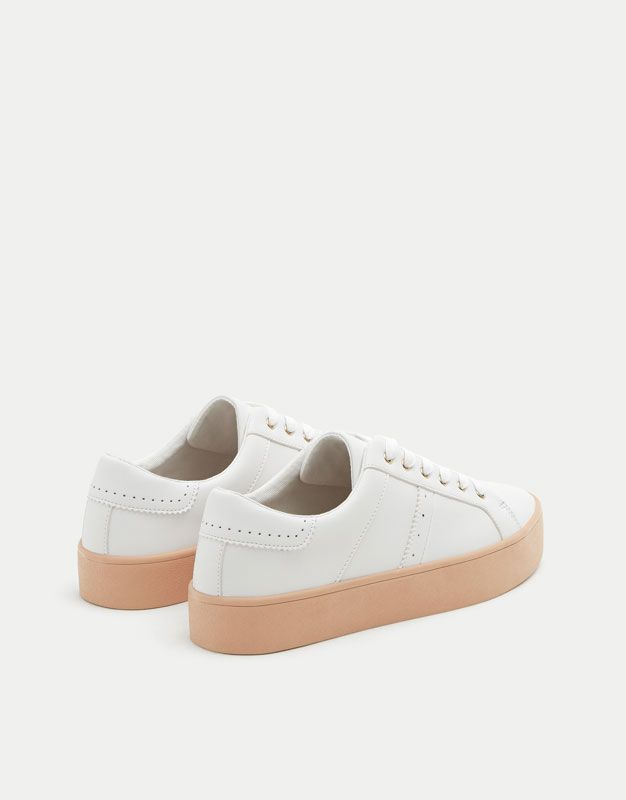 White sneakers with pink soles - New