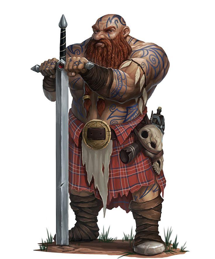 Kilted Dwarf barbarian by RogierB.deviantart.com on @DeviantArt