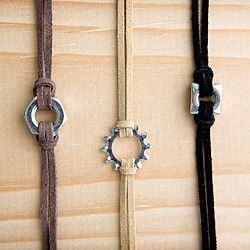 Jewelry and belts for boys, using suede string, adjustable belts, and cool hardware pieces. Tutorial and step-by-step photos included.
