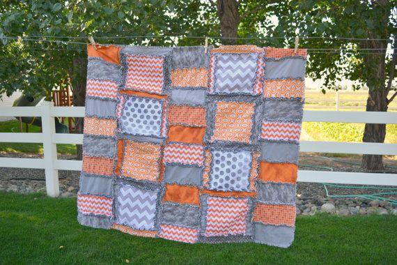 Custom Gray and Orange Rag Quilt, Baby Crib Quilt Size