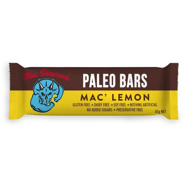 Blue Dinosaur Mac' Lemon Paleo Bar 45g - $3.95  Blue Dinosaur Mac' Lemon Paleo Bars are a clean, honest snack, made from only 5 real-food ingredients.  This bar has a sweet coconut flavour with a hint of Macadamia Nuts and a light Lemon tang. It's the healthiest lemon meringue pie you'll ever eat, and just one bar will give you plenty of energy!