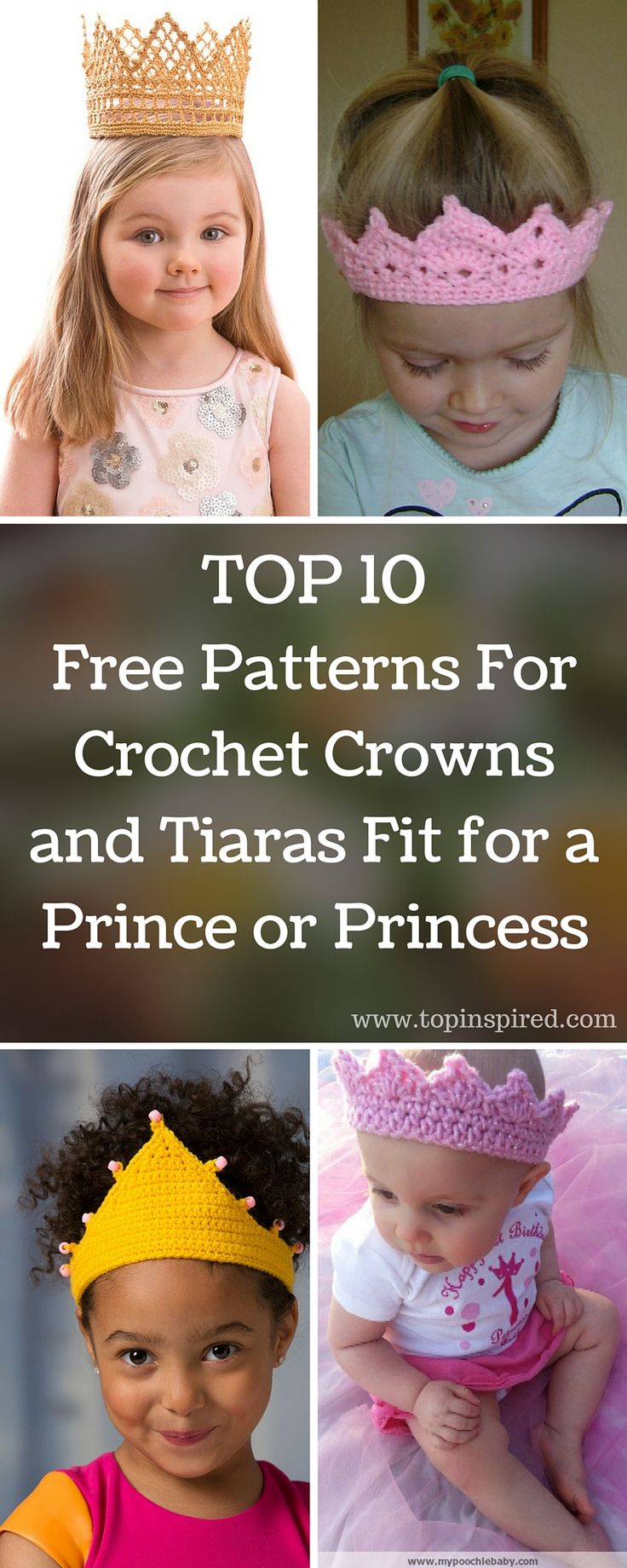 TOP 10 Free Patterns For Crochet Crowns and Tiaras Fit for a Prince or Princess via @Topinspired