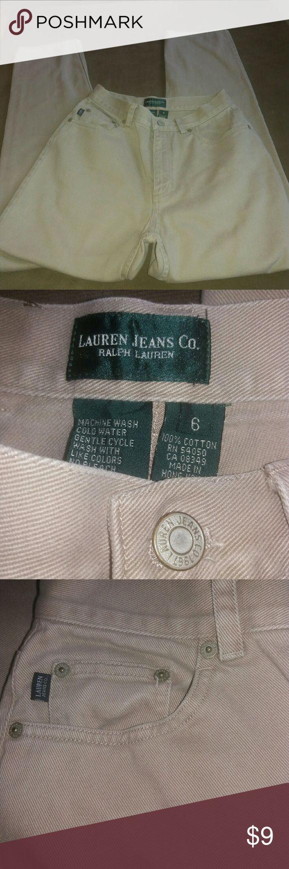 Ladies tan jeans by Ralph Lauren. Size 6 100% cotton. Zip front with top button. 5 pockets. Excellent condition Ralph Lauren Jeans
