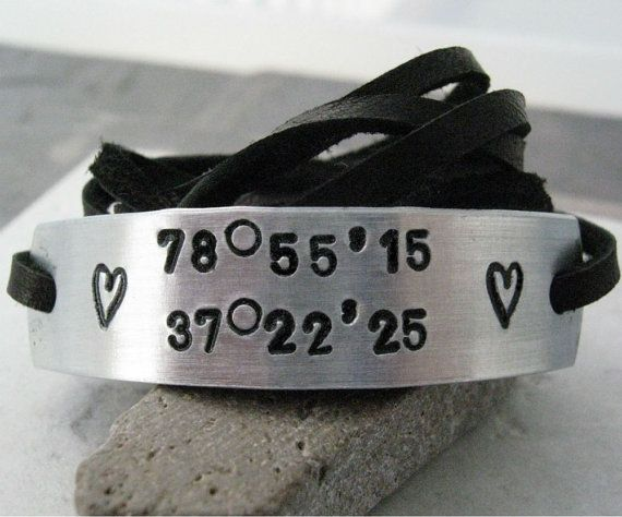 Personalized Longitude Latitude Bracelet choose by riskybeads, $15.95